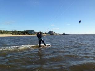 Kelly kiteboarding in Nags Head, NC.