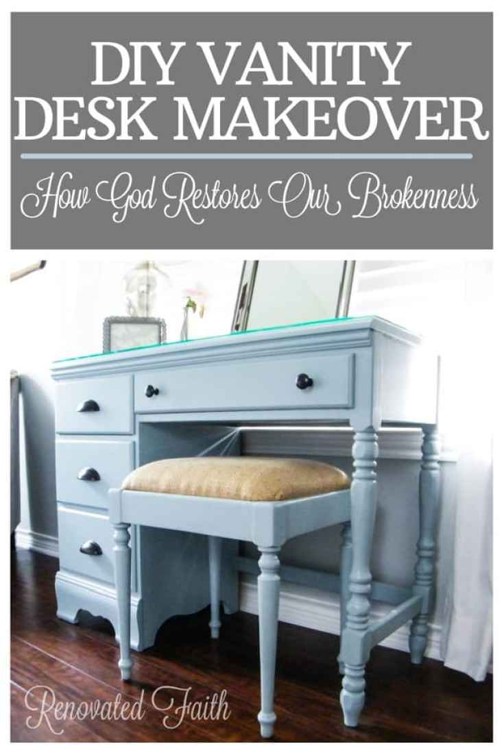DIY Vanity Desk Makeover :  How God Restores Our Brokenness  www.renovatedfaith.com