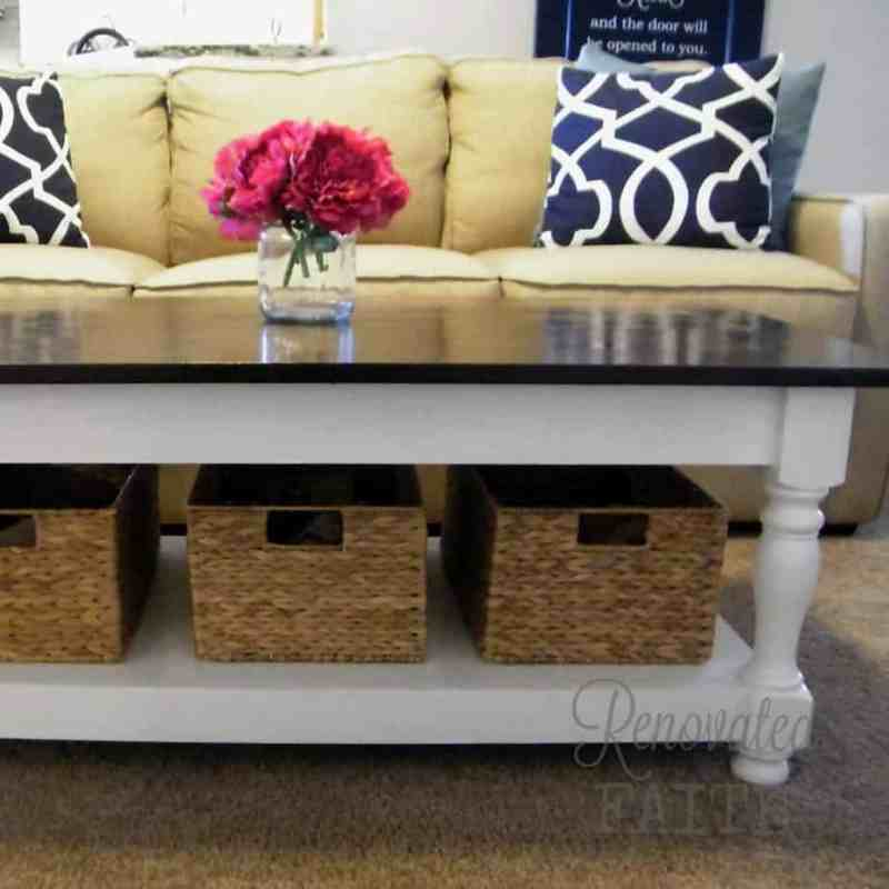 Turned Leg Coffee Table Tutorial - How To Gel Stain Wood - Why strip furniture pieces when you can easily use this process to give them a new look with little effort or mess! #gelstainwood #stainedfurniture #gel stain #renovatedfaith www.renovatedfaith.com