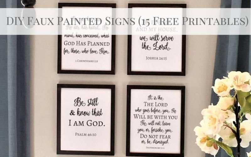DIY Faux Painted Signs (Free Scripture Printables)