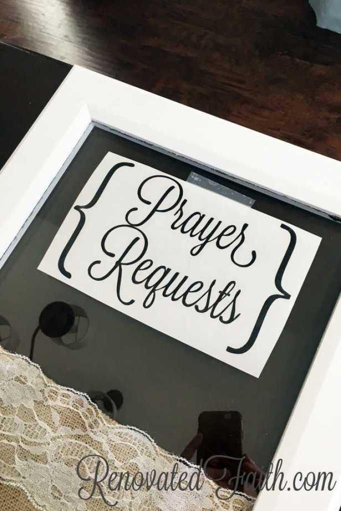 DIY Prayer Request Board - I made this Prayer Request Board as a reminder in my home to keep God at the center of my heart. www.renovatedfaith.com #faith #prayer #prayerrequestboard