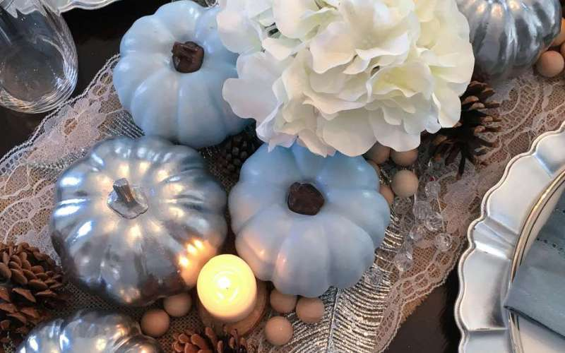 Thanksgiving Tablescape with Blue Pumpkins {Why God Interrupts Your Plans}