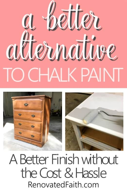 How To Paint Furniture without Chalk Paint - Refinish furniture with less cost, time and hassle while achieving a more durable finish with my better alternative to chalk paint. I'll even show you how to get the aged look of dark wax without the extra time involved.. #alternativetochalkpaint #chalkpaint #waxfurniture #agedlook #renovatedfaith #howtopaintfurniture www.renovatedfaith.com