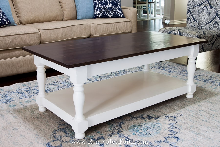 diy farmhouse coffee table with turned