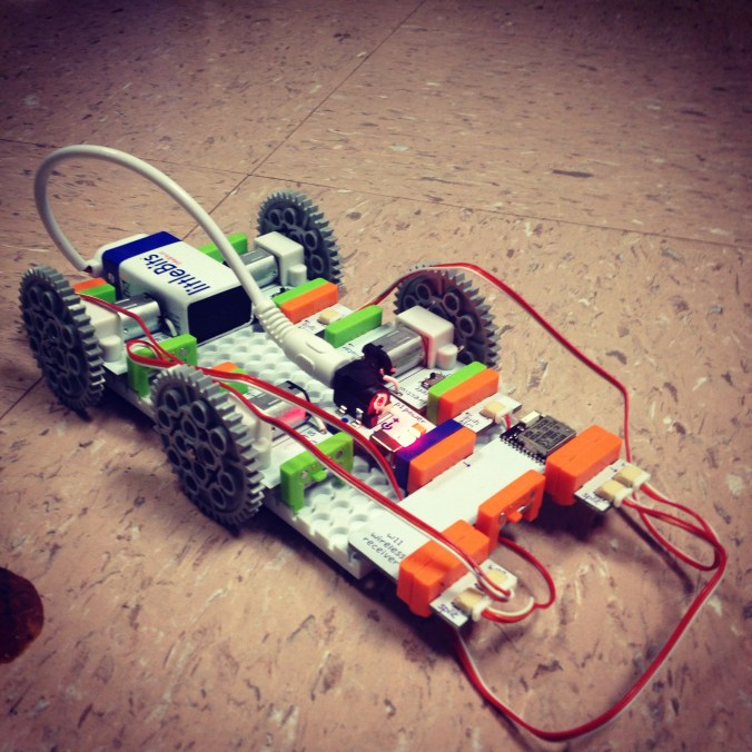 The first version of our littleBits car.