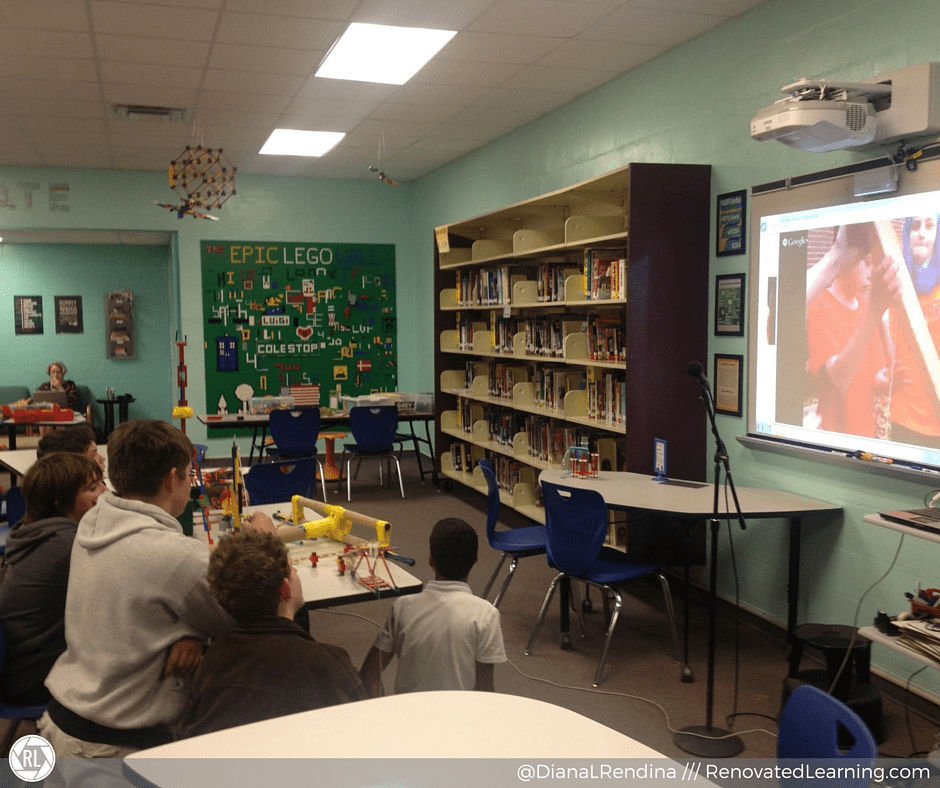 Stewart students sharing their projects in a Google Hangout with Lamar Middle School in Texas