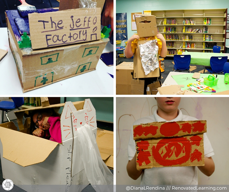 Some of our student projects, including a building, robot suit, space ship & hat. | RenovatedLearning.com