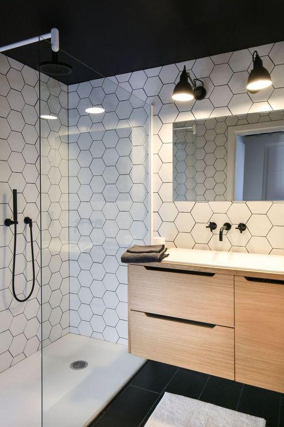 carrelage hexagonal pour salle bain le