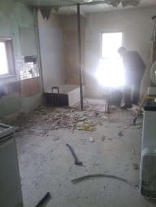 Good bye bathroom - hello bigger and brighter kitchen!