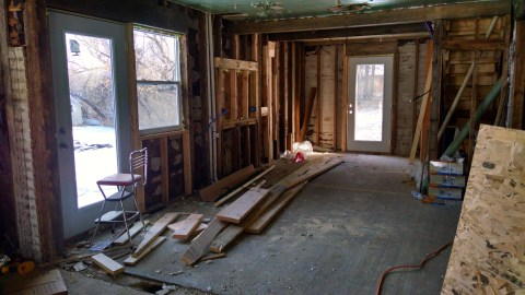 Here's another shot of the kitchen, just showing off my other two glass doors :) Yes, I am going to be very spoiled.