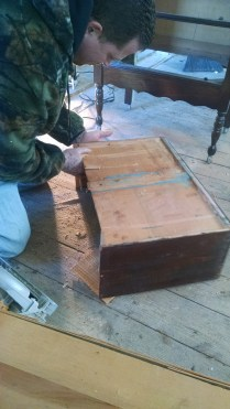 Modifying the drawer so we can convert mom's old dresser into our main bathroom vanity.
