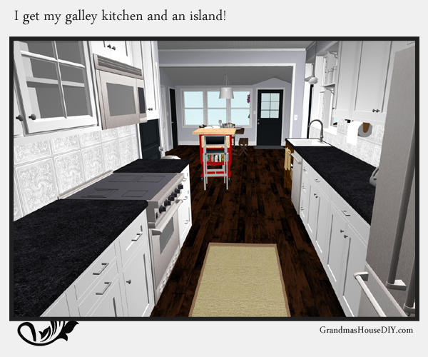 Remodeling an old farm house - refinishing kitchen cabinets and creating a new kitchen. 3d image. GrandmasHousediy.com