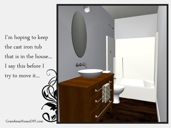 Remodeling an old farm house - main bathroom includes a refinished old dresser made into a bathroom vanity. 3d image. GrandmasHousediy.com