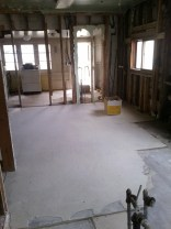After a lot of shoveling she got to sweeping and I started in on ripping the last of the lath out of the kitchen.