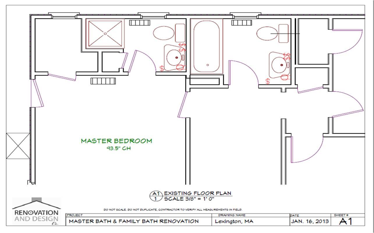 Lexington, MA Bathroom Remodel Design Plan