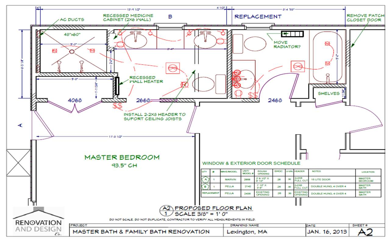 Lexington MA Bathroom Remodel Design Plan  Renovation and Design