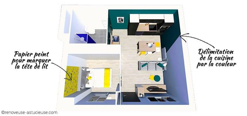 Dans ce studio de 33m2, une chambre est créée à la place de l'ancienne cuisine. Les espaces sont délimités visuellement grâce à des couleurs franches et du papier peint.