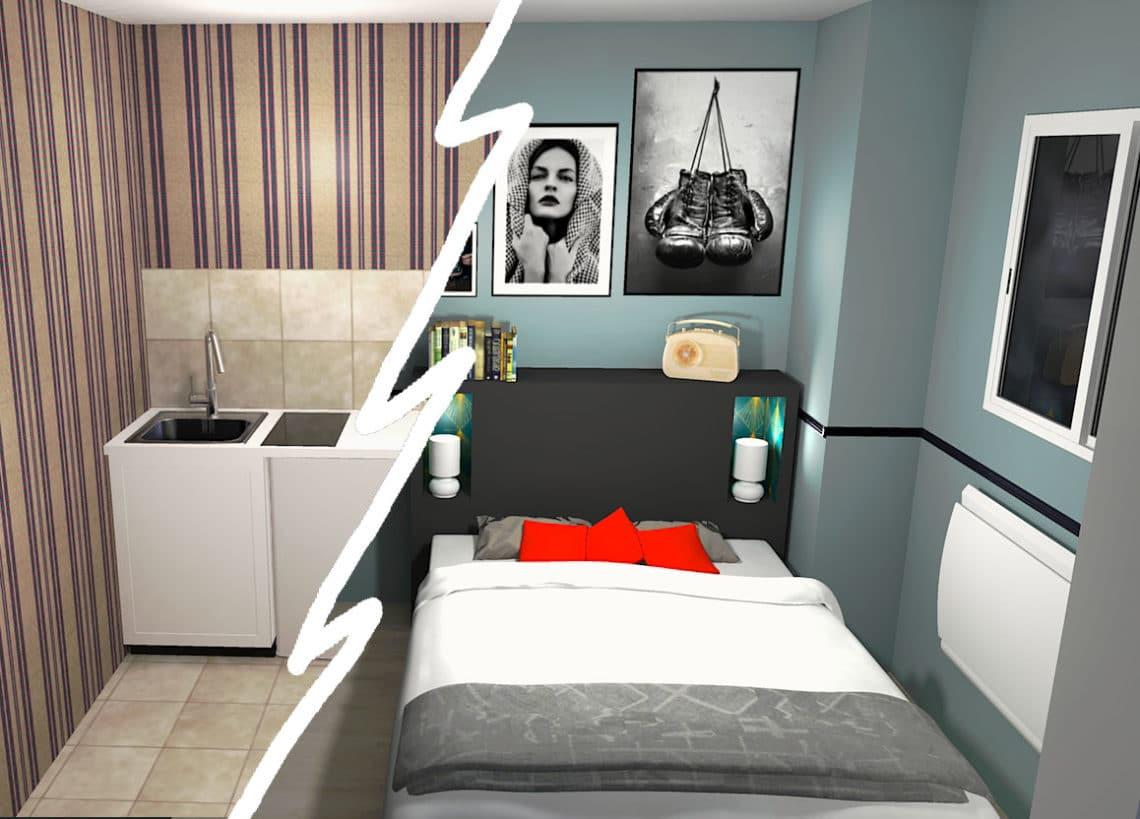 Transformer un studio en T2 permet d'augmenter la rentabilité locative. Ici la cuisine a été déplacée pour être remplacée par une chambre.