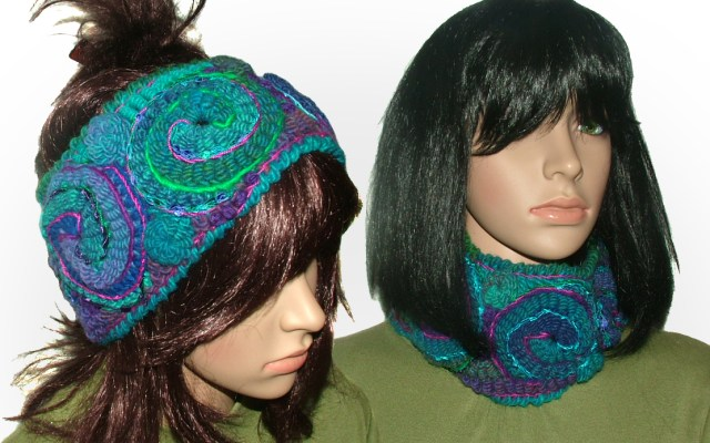 blue purple cowl headband