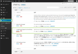 02_Google App Engine for WordPressプラグイン有効化