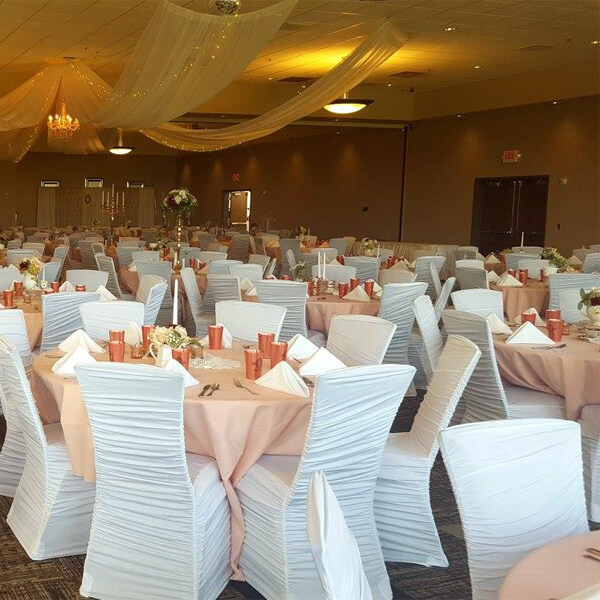 chair cover for rent wedding facial sale white covers all inc spandex celebrations by located in sioux center and storm