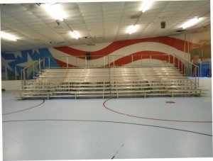 Indoor Bleachers on Hockey Rink