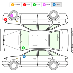 Car Damage Inspection Diagram Apexi Avcr Wiring Vehicle Inspections Condition Reports Rental Manager Note That The Itself And Types Are Customisable Recorded Here Will Carry Through To Next For This Until An