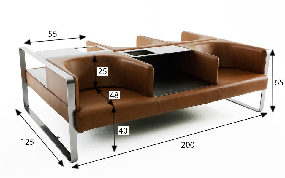 Divano 4 posti Ianus di Felice Rossi  Marrone  Rental Design