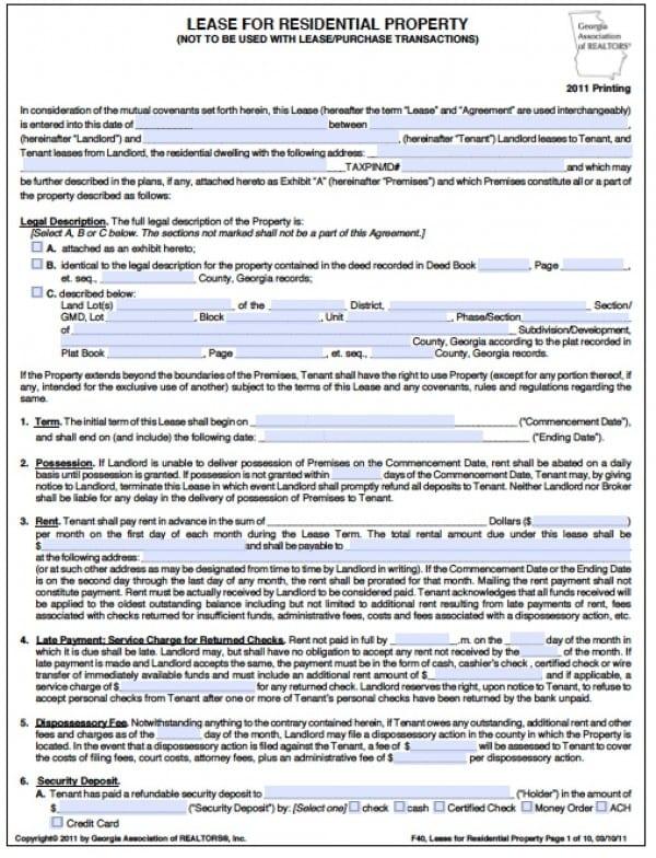 Free Georgia Residential Lease Agreement | PDF | Word (.doc)