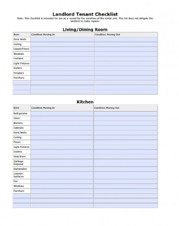 Free Landlord Tenant Move In Out Checklist Pdf Word