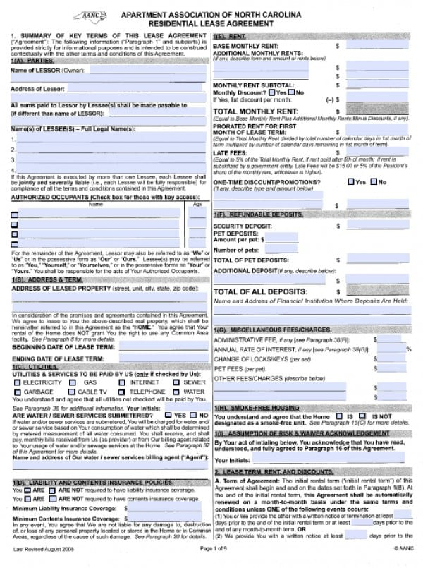 Free North Carolina Residential Lease Agreement   PDF   Word (.doc)