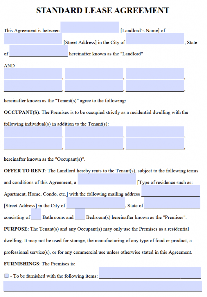 Free Standard 1 Year Lease Agreement Template Pdf And Word