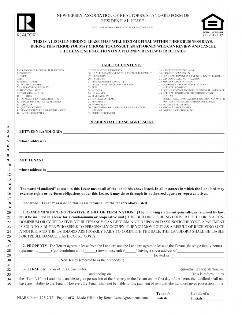 Free New Jersey Residential Lease Agreement Pdf Word