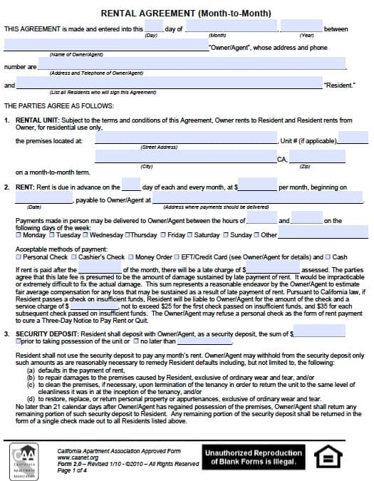 Free California Month To Month Rental Agreement Pdf Template