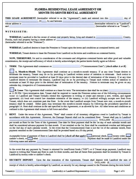Free Florida Monthtomonth Rental Agreement  Pdf Word