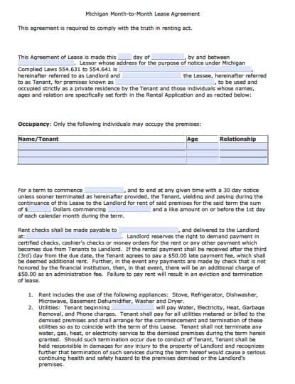 Free Michigan Month To Month Rental Agreement Pdf Word