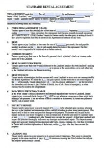 Free Printable Rental Lease Agreement Templates Pdf Amp Word
