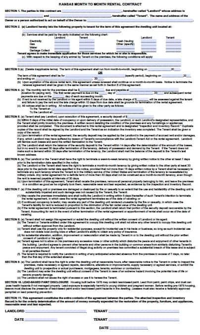 Free Kansas Month To Month Rental Agreement Pdf Word