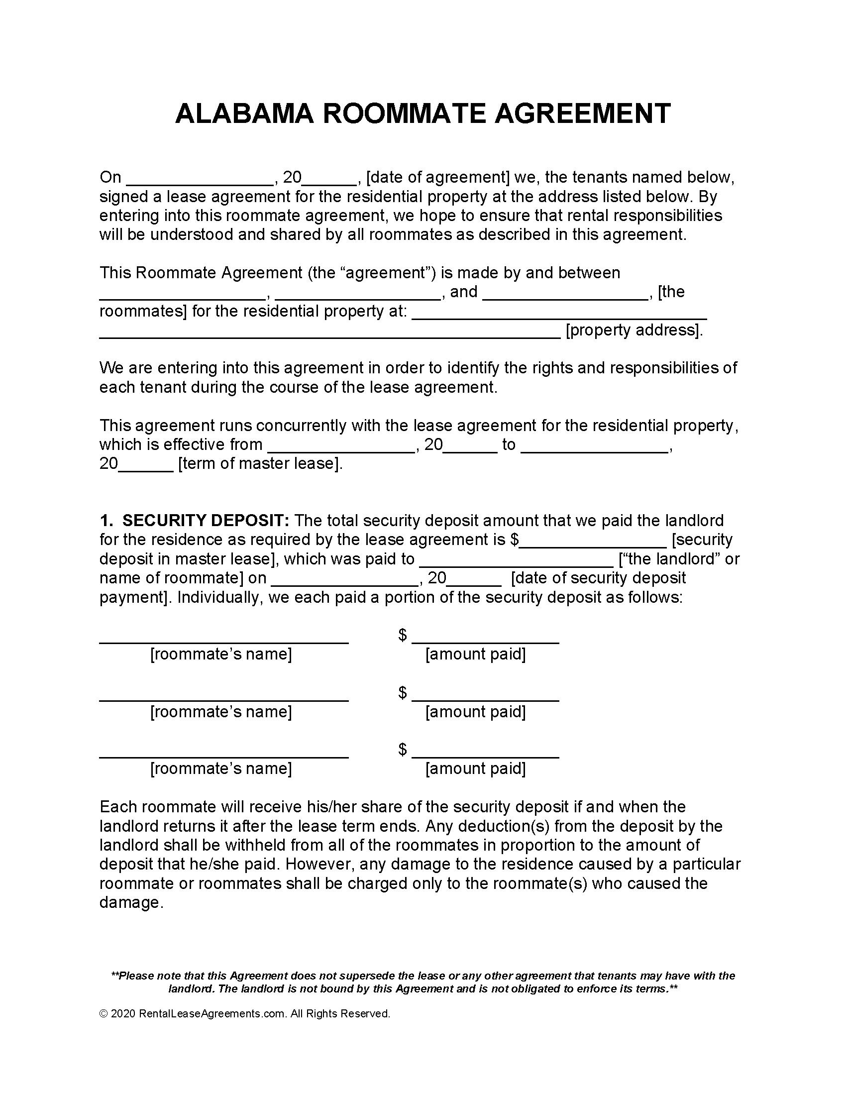 Free Alabama Roommate Agreement Template - PDF - Word