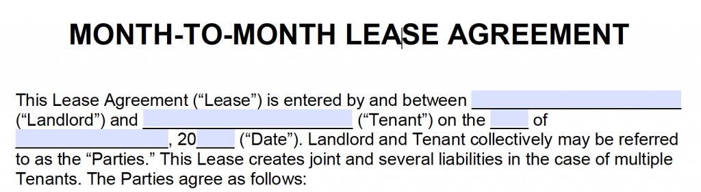 Free Month To Month Rental Agreement Pdf And Word Templates