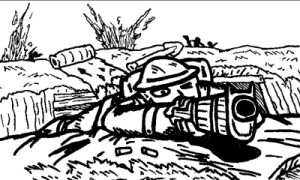 Canadian soldier returns fire from the trenches