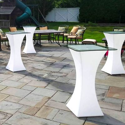Light up High Boy tables for rent