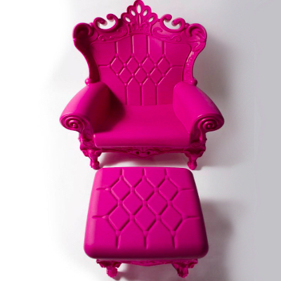Pink baby shower throne chair rental