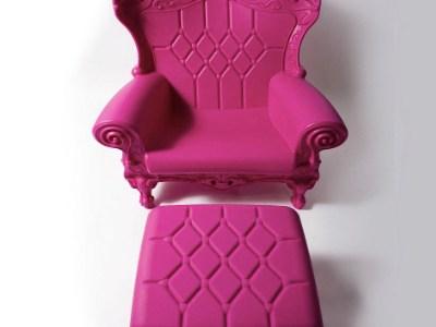 Pink baby shower throne chair rental