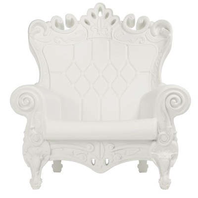 Baroque White Throne Chair rental