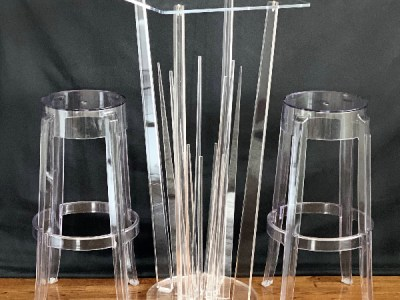clear acrylic table for rent