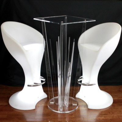 Ghost acrylic cocktail table rental