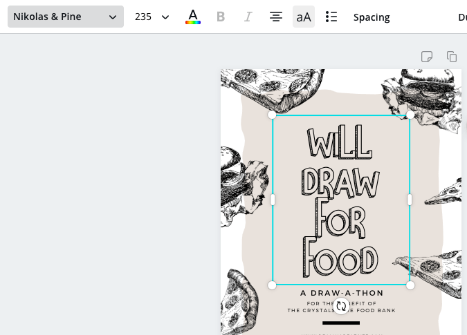 Canva project and font box
