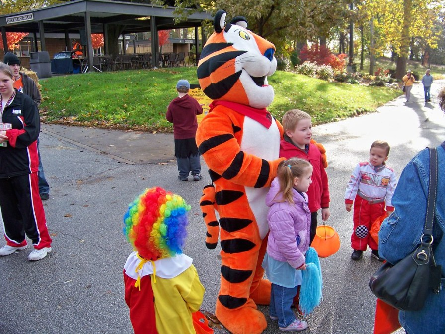 Tony the Tiger visits outside birthday party in a park
