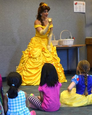 Princess Belle entertains at girls birthday party